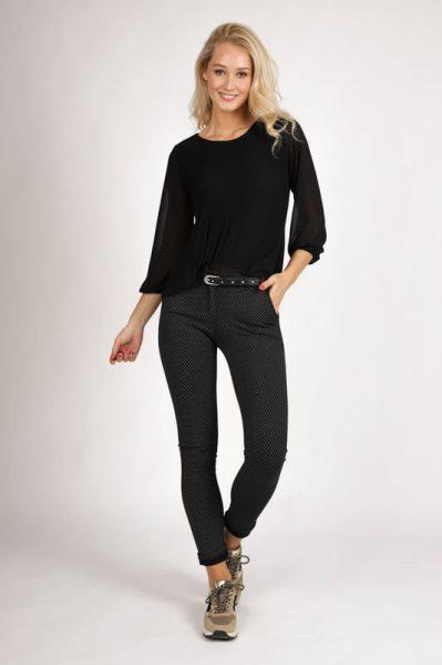 Stretch pantalon wiebertje zwart/wit + ceintuur  zwart/wit