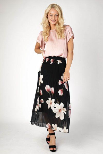 Maxi plisse zwart + orchidee roze  zwart