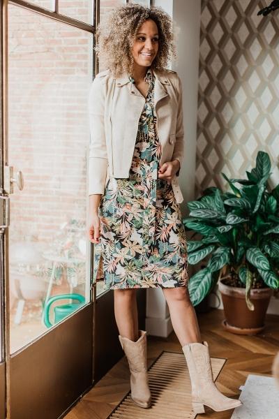 Midi jurk mouwloos met tropische bloemen print multi