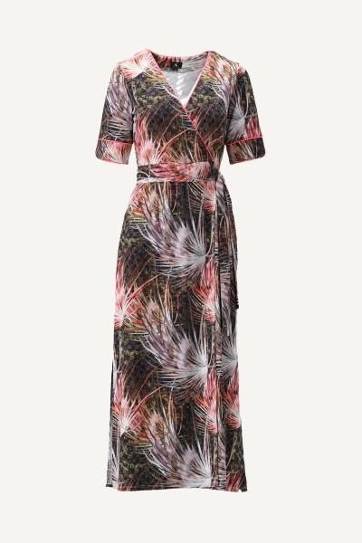 Maxi jurk met vaste overslag en print multi
