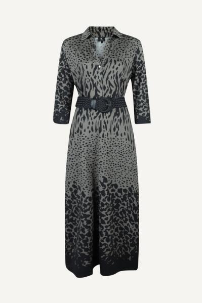 Maxi jurk met riem en print multi