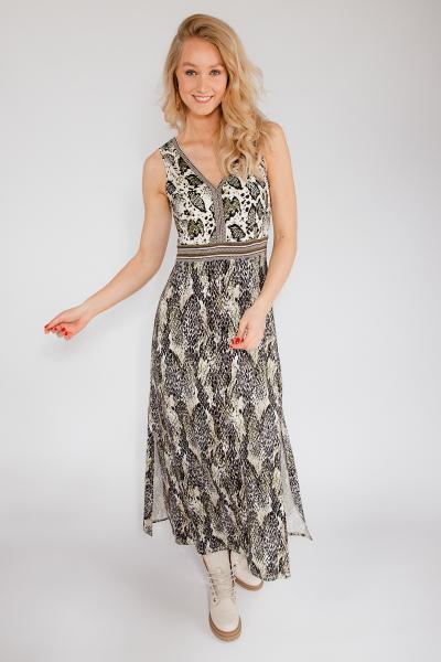 Maxi jurk V-hals mouwloos met slange print multi