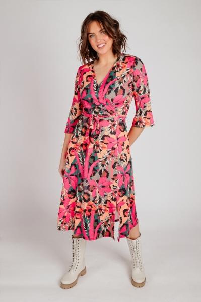 Midi jurk met riem en print multi