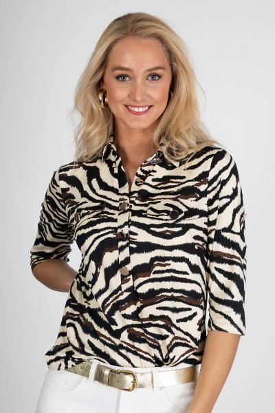 Fantasie zebra kraag gouden knopen  dierenprint fake