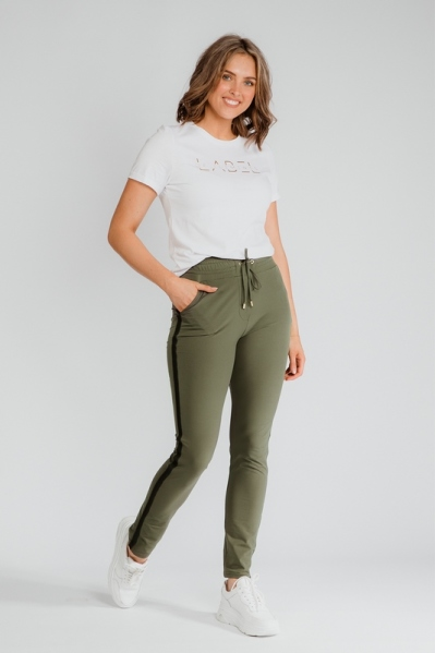 Travel pants with tape groen