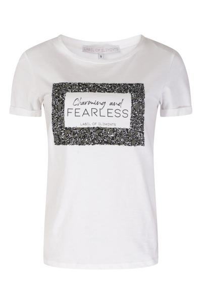 Shirt tekst + kraaltjes frame army/zwart/wit  wit