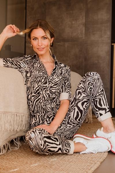 Jumpsuit zebra 3/4 mouw en ceintuur  dierenprint fake