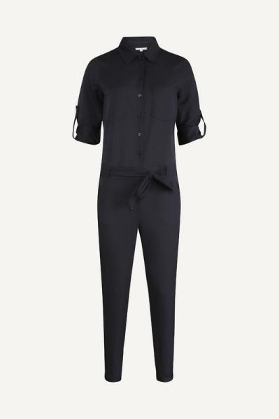 Jumpsuit zwart 3/4 mouw en ceintuur  zwart