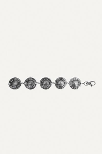 Riem ketting munten zilver  zilver / l.grijs