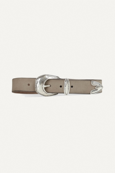 Taupe western gesp zilver glad  taupe