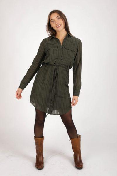 OBJGUNNA L/S SHIRT DRESS 111 groen