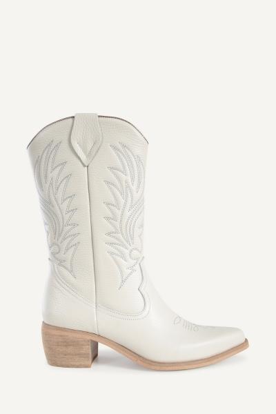 Shoecolate Cowboylaarzen Hak Offwhite 8.11.08.029