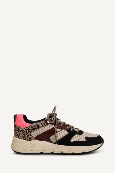 Sneaker mesh combi bordeaux beige zwart multi