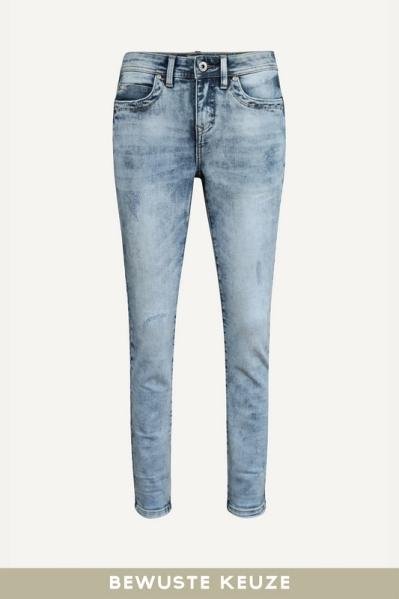 Jeans met vegen en details zijkant broek denim