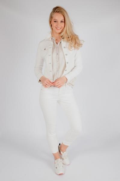 Ecru jeans met beige stiksels  ecru