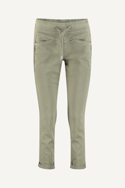 Jog denim khaki elastiek + koordje  army