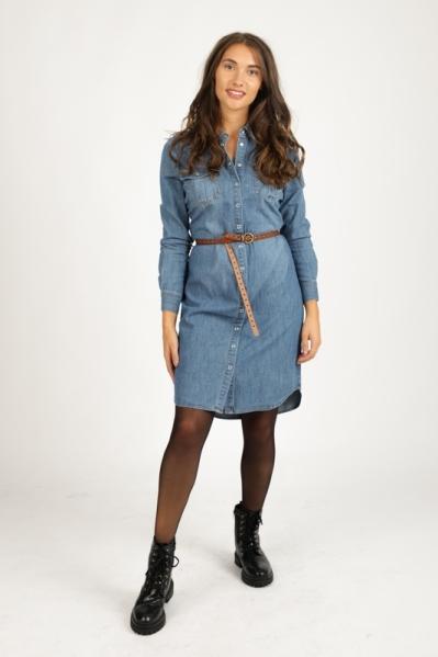 Blue denim jurk drukkers  + ceintuur  denim