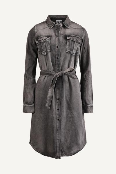 Black denim jurk drukkers  + ceintuur  black denim