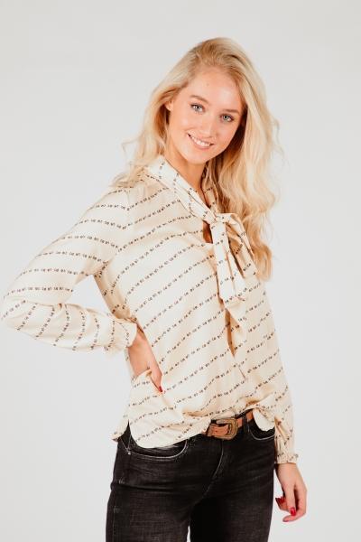 Glans blouse letterprint + strik creme  beige