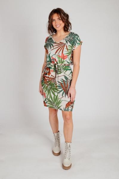jurk wijde korte mouw met print multi