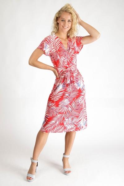 Midi jurk tricot rode print korte mouw rood
