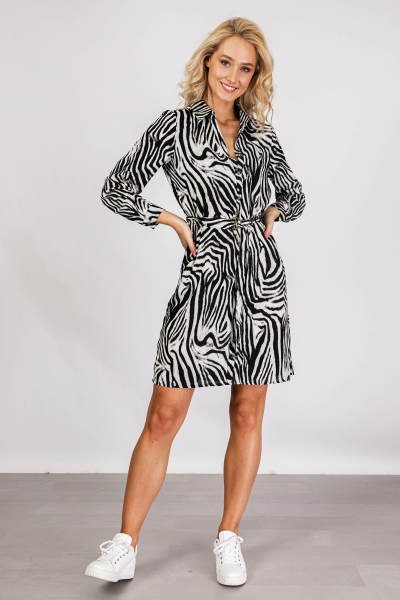 Zebra kraag doorknoop ceintuur lange mouw dierenprint fake