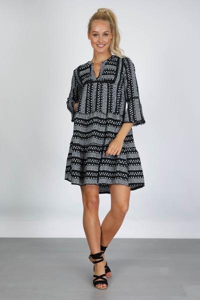Aztec klokkend zwart wit  zwart/wit