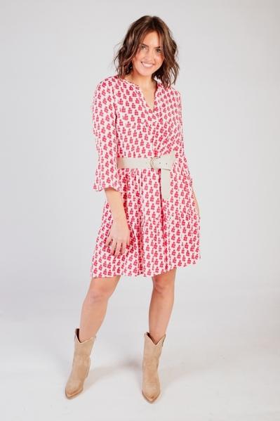 jurk wijd met kersen print rood