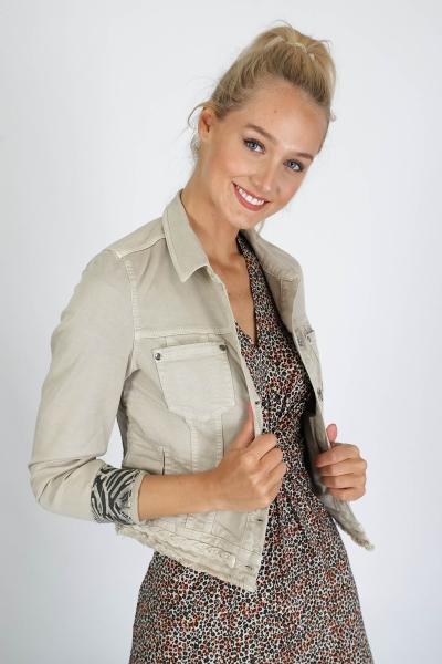 Jacket Cropped Embroidered zand