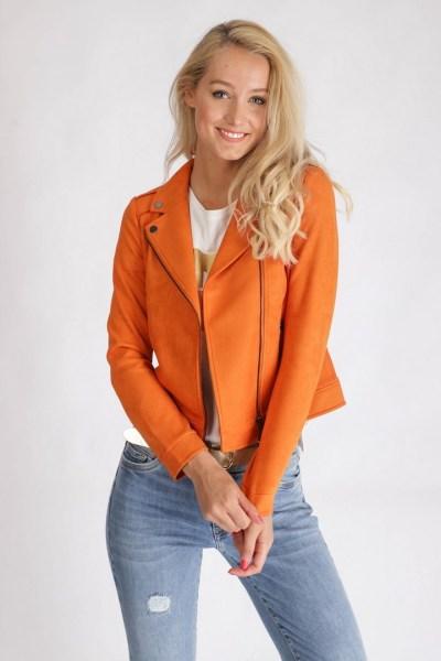 Jacket Suedine Biker oranje