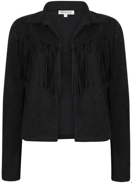 Jacket Suedine Fringes zwart