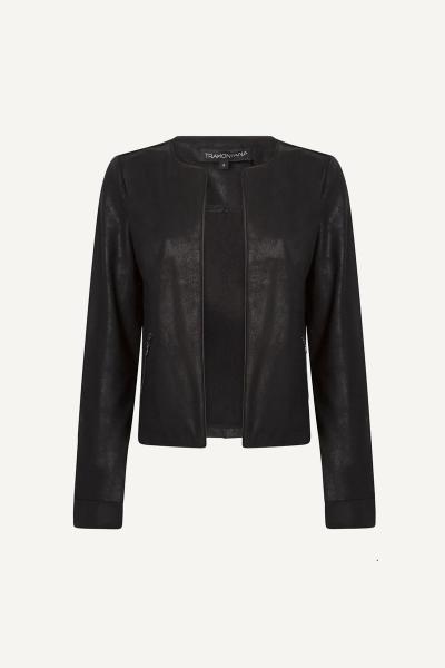 Jacket R-Neck Suedine Coated zwart
