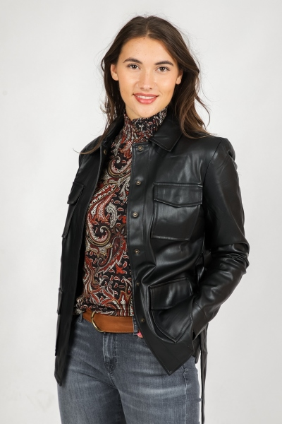 Jacket PU Casual zwart