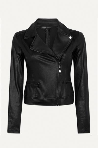 Jacket Biker Coated Sweat zwart