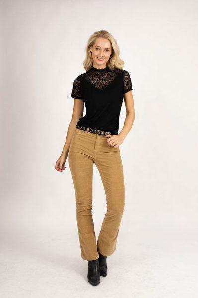 Trousers Rib Cord Flared camel