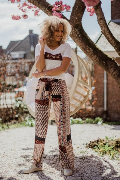 Trousers Wide Leg Mixed Graphic Prt multi