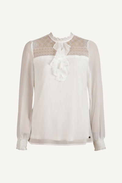 Top L/S Lace Ruffle off white