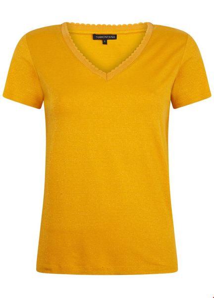T-Shirt Lurex Fancy Rib geel