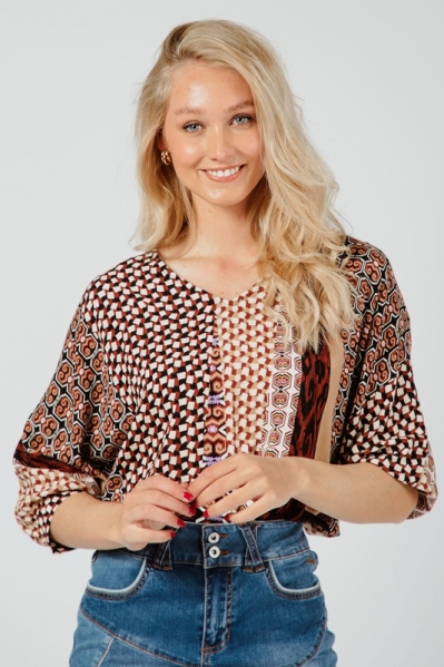 Top Knot Mixed Graphic Print multi