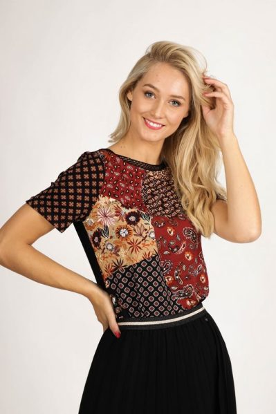 Top S/S Patchwork Print multi