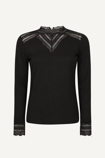Top Jersey Rib Lace zwart