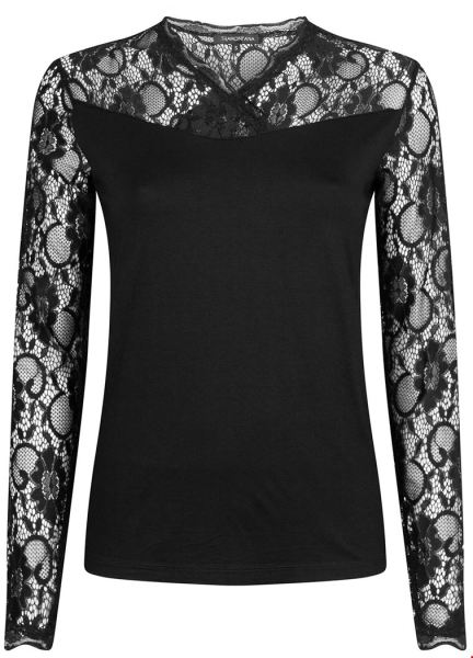Top L/S Lace Sleeves zwart