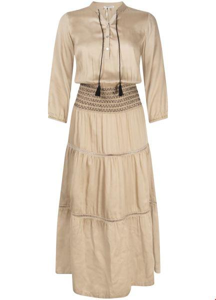 Dress Midi Smock Waist zand
