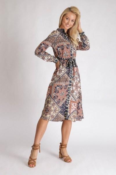 Dress Midi Scarf Print multi