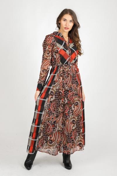Dress Maxi Chiffon Print Mix multi