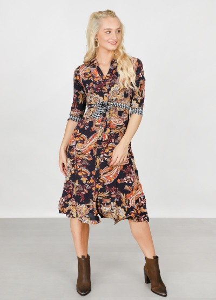 Dress Long Paisley Print multi