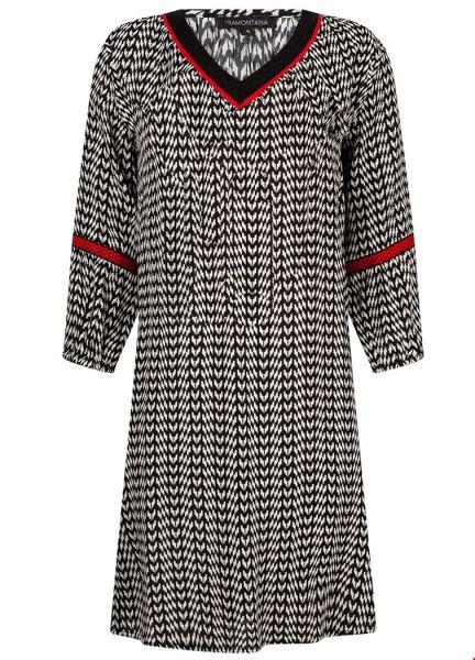Dress V-neck 2-Tone Print multi