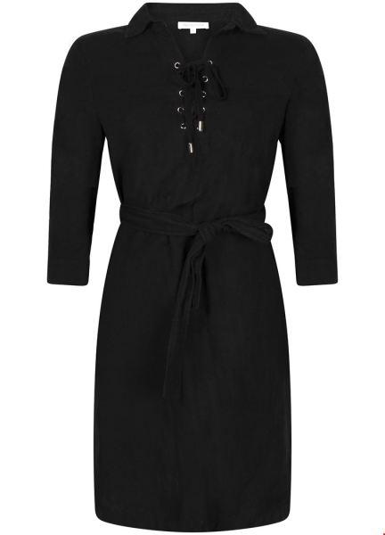 Dress Linen Lace up zwart