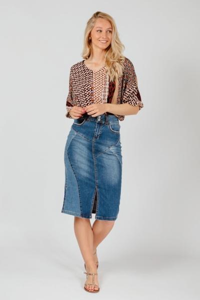 Denim Skirt Midi Two Tone denim