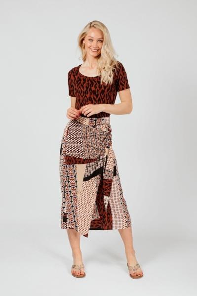 Skirt Midi Mixed Graphic Print multi